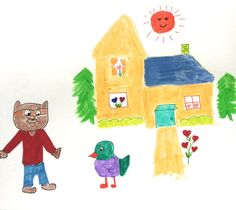 Yellow House Ralph Racoon Talks to Grace by LilyMoonsigns on Etsy