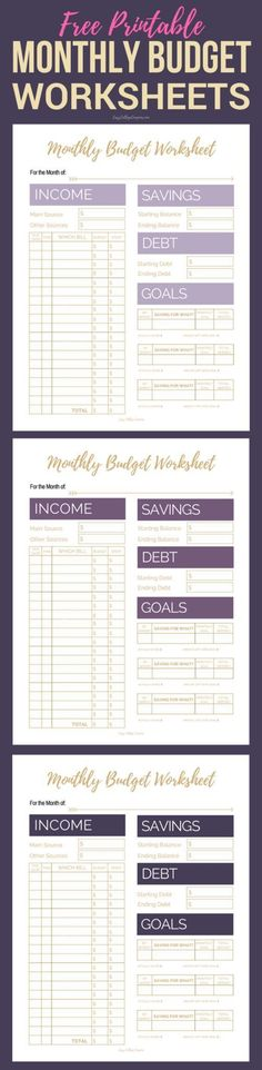 Free Printable Monthly Budget Worksheets Printable budget - free printable budget planner