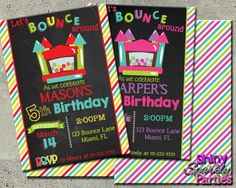 Printable Bounce House Birthday Invitation (Digital File Only)