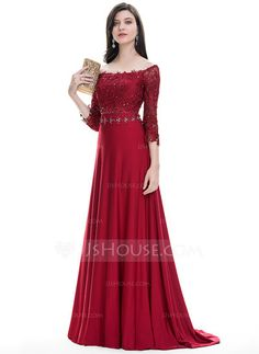 A-Line/Princess Off-the-Shoulder Sweep Train Beading Sequins Zipper Up Sleeves 3/4 Sleeves No Burgundy Spring Summer Fall General Plus Jersey Hight:5.7ft Bust:32in Waist:24in Hips:35in US 2 / UK 6 / EU 32 Evening Dress