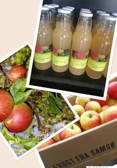 Koldtpresset æblemost fra Alstrup Frugtplantage på Samsø. Den fås i 2 størrelser: 0,75 liter og 5 liter.