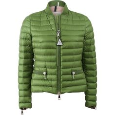 Moncler Blen Puffer Jacket ($995) ❤ liked on Polyvore featuring outerwear, jackets, zip front jacket, puffy jacket, green puffer jacket, moncler and long green jacket