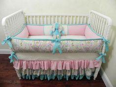 Baby Bedding Crib Set Sydney - Paisley Pink Aqua : Just Baby Designs, Custom Baby Bedding Custom Crib Bedding Custom Nursery Bedding