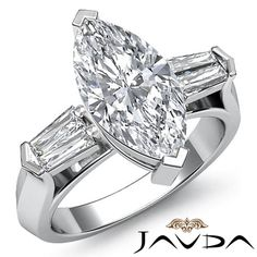 Marquise Cut Three Stone Diamond Engagement Ring EGL F VS2 14k White Gold 1.5 ct