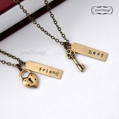 best friend necklace friendship necklace bff, key and lock necklace, gift for BFF, besties by jewelmint from Jewelmint on Etsy. Bff Necklaces, Best Friend Necklaces, Best Friend Jewelry, Dog Tag Necklace, Bracelets, Key Necklace, Pendant Necklace, Bff Gifts, Best Friend Gifts