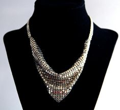 Vintage Metallic Mesh Statement Necklace