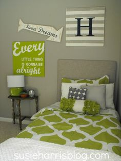 cute cute room! love the signs! Might do this (the opposite, green walls, grey bedding) for Hannah's room.