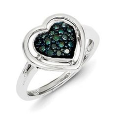 1/4 Carat Blue Diamond Heart Shaped Ring In Sterling Silver Available Exclusively at Gemologica.com