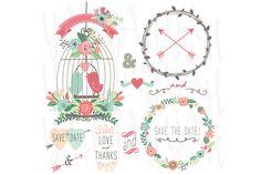 Vintage Wedding Flowers and Birdcage by YenzArtHaut on Creative Market