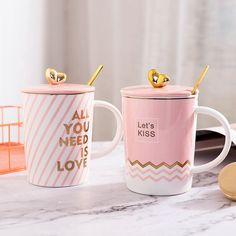 """""""Pink Life"""" Cute Ceramic Mug with Lid Spoon Milk Coffee Mug Girls Lovers Cups Ceramic Mug With Lid, Ceramic Cups, Ceramic Art, Painted Coffee Mugs, Funny Cups, Pink Cups, Cute Cups, Wheel Thrown Pottery, Cool Kitchen Gadgets"""
