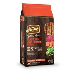 Merrick+Grain+Free+Real+Buffalo+&+Sweet+Potato+Dry+Dog+Food+-+4+lbs.+Real+buffalo+is+the+first+ingredient+and+potatoes+are+a+natural,+healthy+and+easily+digestible+alternative+to+grains.+Balanced+nutrition+obtained+through+real+whole+foods+leads+to+health+you+can+see. - http://www.petco.com/shop/en/petcostore/product/merrick-grain-free-real-buffalo-and-sweet-potato-dry-dog-food