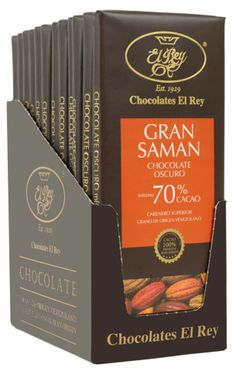 GRAN SAMÁN® con 70% de cacao, es un Chocolate Oscuro 100% Natural. Este chocolate es robusto en sabor y aroma, reflejado en su alto contenido de cacao. Es aromático y proyecta un sabor frutal y de nueces bien balanceado, con un prolongado sabor de cacao.