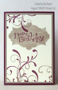 Everything eleanor stamped card, using supplies from Stampin' Up… Birthday Greeting Cards, Happy Birthday Cards, Greeting Cards Handmade, Birthday Greetings, Birthday Wishes, Homemade Birthday Cards, Homemade Cards, Etiquette Vintage, Cardmaking And Papercraft