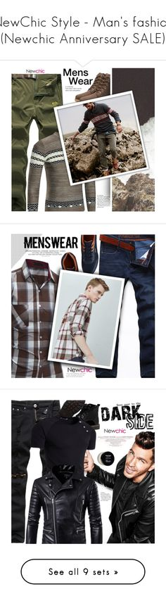 """NewChic Style - Man's fashion (Newchic Anniversary SALE)"" by mymilla ❤ liked on Polyvore featuring men's fashion, menswear, MANGO, Louis Vuitton, Baxter of California, Seed Design, Cato, GUESS, Harry's and Invicta"