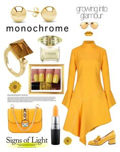 """Sunflower 🌻 One Color, Head To Toe"" by yemmy-made ❤ liked on Polyvore featuring Paper London, Gucci, Jewelonfire, Valentino, Versace, MAC Cosmetics, Linda Farrow, Pier 1 Imports, monochrome and contest"