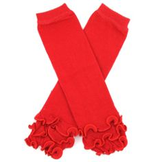 Red with Cotton Ruffle Leg Warmers