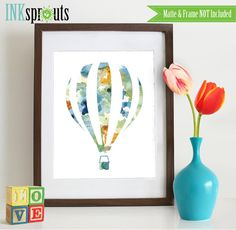 Watercolor Hot Air Balloon Print, Watercolor silhouettes, balloon, The places you'll go, Nursery Print, Transportation, Item  WC011A