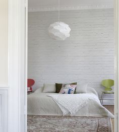 Rustic Living   White Brick Wall Wallpaper by Mr Perswall   Jane Clayton