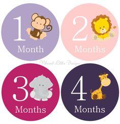 Mensuel bébé Stickers fille jalon autocollants Stickers