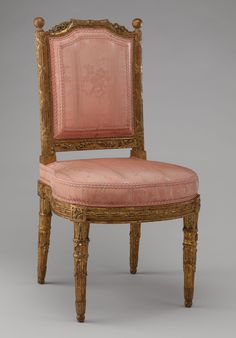 Side chair (chais à la reine) (one of a pair) Maker: Georges Jacob (French, 1739–1814) Maker: Carved by Jules-Hugues Rousseau (1743–1806) and Maker: Jean -Siméon Rousseau de la Rottière (1747–1820) Maker: Gilded by Presle Date: 1784 Culture: French, Paris Medium: Carved and gilded walnut; pink silk moiré damask (not original)