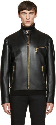 Versace: Black Classic Leather Bomber | SSENSE