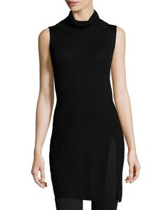 Sleeveless Turtleneck Tunic, Black - BCBGMAXAZRIA