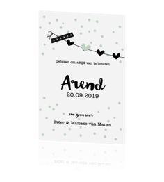 Zwart-wit babykaartje met groene confetti