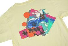 Mens-M-Vtg-80s-1986-OP-Ocean-Pacific-Neon-Surf-Palm-Trees-Sunset-Beach-T-Shirt