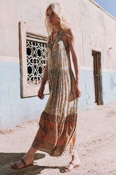 Elephant Sleeveless Holiday Maxi Long Dress -2color Beautiful Casual Dresses, Boho Life, Boho Chic, Boho Style, Gold Dress, Comfortable Outfits, Boho Outfits, Boho Fashion, Fashion Ideas