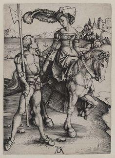 1497 Albrecht Dürer - Lady on horseback and landsknecht Hieronymus Bosch, Albrecht Durer, Robert Campin, Medieval, Renaissance Kunst, Renaissance Clothing, Jan Van Eyck, Landsknecht, Cleveland Museum Of Art