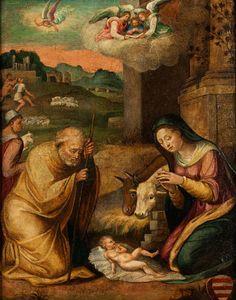 ANBETUNG DES KINDES IN BETLEHEM Öl auf Pappelholz. 58 x 45,5 cm. Die beiden Hauptfiguren Josef und Maria zu Seiten des am Boden auf einem Tuch liegenden...