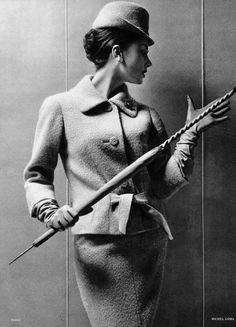 Model in nubby wool suit by Michel Goma, photo by Philippe Pottier, 1959