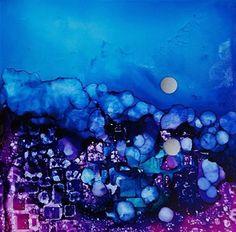"Daily Paintworks - ""Reflective Moon, 5 x 5 inch Alcohol Ink, Landscape"" - Original Fine Art for Sale - © Donna Pierce-Clark"