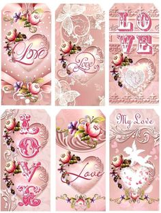 6 Valentine 155 lb Scrapbook Paper Craft Hang Tags Laminated or Not | eBay