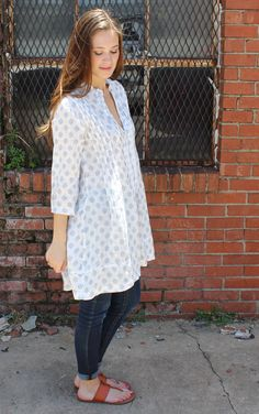 Regina Blouse in White Blue Print by CP Shades Clothing Linen clothing @ It's a Shopping Thing