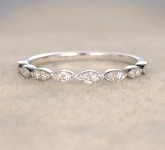Pave Diamond Wedding Band Half Eternity Anniversary Ring 14K White Gold