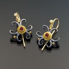 oxidized sterling silver granulation 22kt gold spinel earrings