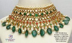 Chocker Necklace, Chokers, Gold Jewellery, Beaded Jewelry, Gold Haram, Rajputi Jewellery, Emerald Green Earrings, Kundan Set, Africa Dress