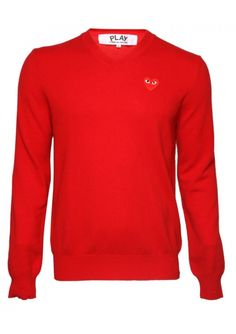 Comme Des Garcons Clothing | PLAY Mens Red Heart V Neck Jumper Red | Buy Comme Des Garcons Play Clothing Online #hervia #commedesgarcons