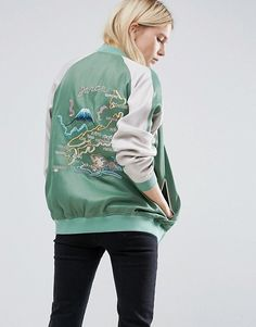 ASOS | ASOS Reversible Bomber Jacket With Embroidery in mint #pastel