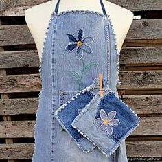 Denim is very suitable for use in the kitchen.The fabric is thick and can sew potholders and a...