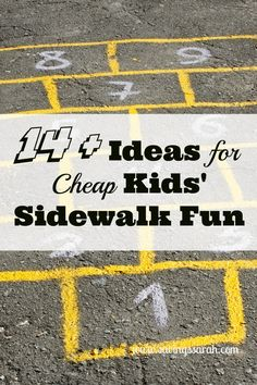 Spring and summer are great times for the kids to get outdoors. Here are 14 plus ideas for free/inexpensive sidewalk fun that you are definitely going to want to check out.
