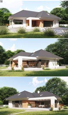 Projekt dużego, reprezentacyjnego domu parterowego z zacienionymi tarasami. Modern Bungalow Exterior, Modern Bungalow House, Bungalow House Plans, Dream House Plans, Modern House Plans, Small House Plans, Layouts Casa, House Layouts, Small House Design