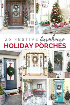 The Farmhouse style can make any porch look amazing for the winter holidays and honestly, you don't need much to make it happen. Here are 20 Festive Farmhouse Holiday Porches to inspire you. Christmas Porch, Outdoor Christmas Decorations, Rustic Christmas, Merry Christmas, Christmas Ideas, Farmhouse Decor, Farmhouse Style, Urban Farmhouse, Christmas Wonderland