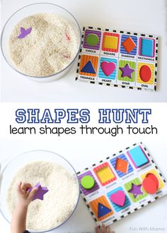 Shapes Hunt - Add puzzle pieces to Rice! Teach Toddlers their shapes with this shapes hunt activity through touch Cognitive Activities, Toddler Learning Activities, Montessori Activities, Infant Activities, Kids Learning, Activities For 2 Year Olds Indoor, All About Me Activities For Preschoolers, Outdoor Preschool Activities, All About Me Activities For Toddlers