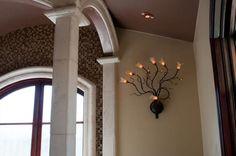 Evolution 7 Light Wall Mount in Amber Murano Glass