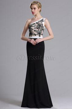 eDressit One Shoulder Floral Embroidery Prom Evening Dress (00164000)