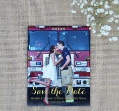 Save the date magnet with gold calligraphy #wedding #custom #design #graphicdesign #savethedate #gold #engagementphotos #magnet #savethedatemagnet #engaged