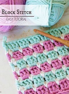 Crochet Tutorial Design How To Crochet The Block Stitch Easy Tutorial - The Beautiful Block Stitch Free Crochet Patterns are the perfect stitch for every single crocheter to learn. It is easy and creates unique design. Plaid Au Crochet, Tunisian Crochet, Learn To Crochet, Easy Crochet, Crochet Baby, Chrochet, Double Crochet, Crochet Block Stitch, Crochet Blocks