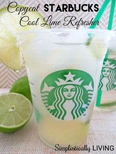 Love Starbucks drinks in the Summer to keep cool? Save money while enjoying this delicious Copycat Starbucks Cool Lime Refresher recipe! Healthy Starbucks Drinks, Starbucks Recipes, Healthy Drinks, Starbucks Diys, Starbucks Flavors, Healthy Smoothies, Refreshing Drinks, Summer Drinks, Fun Drinks